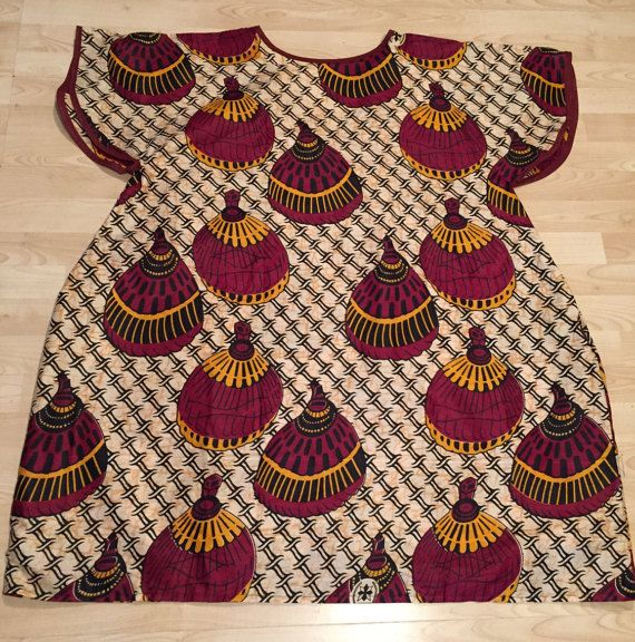 Brown and Burgundy African Cotton Wax Print -  XL dress
