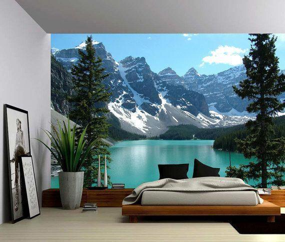 Canada Banff Rocky Mountain Lake Large Wall Mural Etsy Large Wall Murals Wall Murals Mural Wallpaper