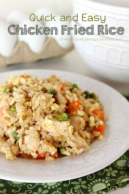 Quick and Easy Chicken Fried Rice is an economical dinner idea! It's versatile too - use shrimp, pork, ham or Spam in place of the chicken! ...