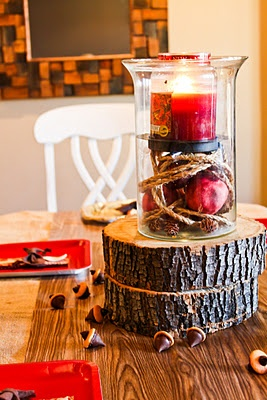 Sans the red candles, this would be cute for a boy's woodland shower centerpiece