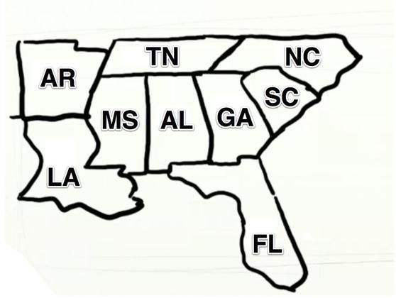 Southeast - Draw the USA