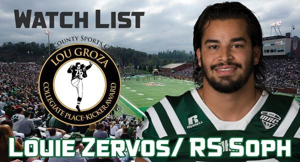 The Palm Beach County Sports Commission announced today its 2017 Lou Groza Award Watch List and included on the watch list is Ohio redshirt sophomore kicker Louie Zervos (Tarpon Springs, Fla.).   As a freshman in 2016, Zervos set the MAC single-season record with 29 field goals made, which was also a NCAA record for made field goals by a freshman placekicker. Zervos converted 29 of 35 field goal attempts last season and drilled a season-long 51-yard field goal. Zervos helped lead Ohio to a…