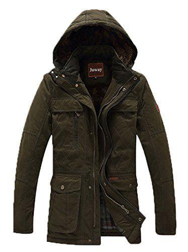 Juway Men's Big-Tall Winter Jacket Fleece Coat(Military Green,M)