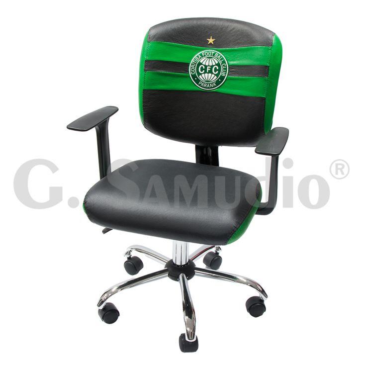 Cadeira Time Coritiba Executiva Preta Giratória Base Cromada
