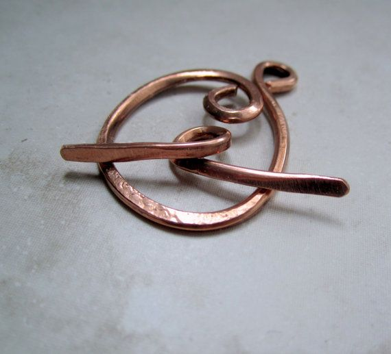Hand Hammered Copper T Toggle Clasp