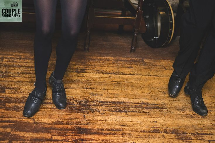 Irish dancers on The Abbey Tavern Dancefloor. Wedding in The Abbey Tavern, Howth. Photographed by Couple Photography.