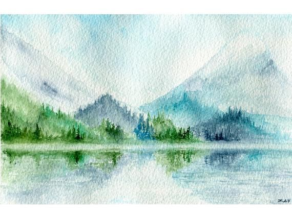 Landschaft Aquarell Malen Blau Berge Lack Haus Dekor