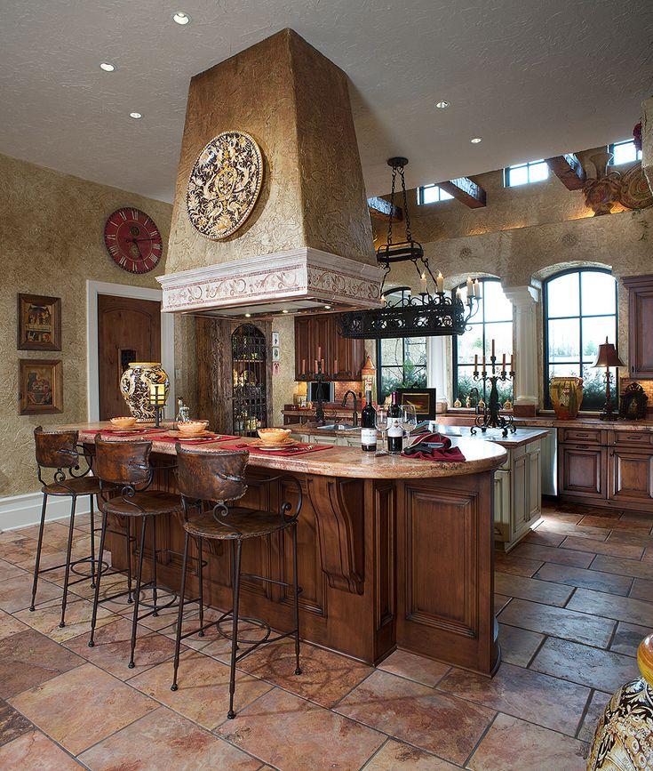 Stunning Mediterranean Decor At Home: Classic Mediterranean Decor Kitchen  Interior Design With Bar Stood