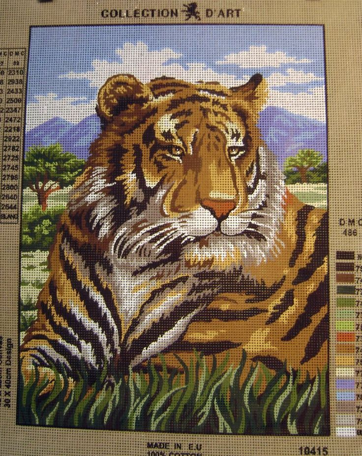 Needlepoint Canvas   Home TIGER HEAD Needlepoint Tapestry Canvas