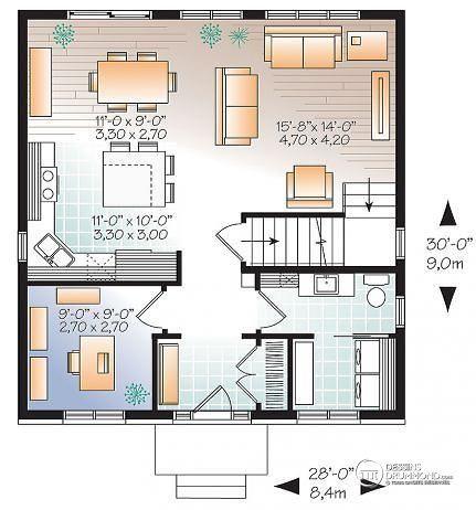 W3716 bon prix pour plan de maison moderne avec 3 for Modern house open floor plans