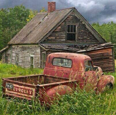 """.""""Tranquility."""" ? '54 Chevrolet Pick-Up Truck In Over Growth. Old House."""" ~ Terri"""