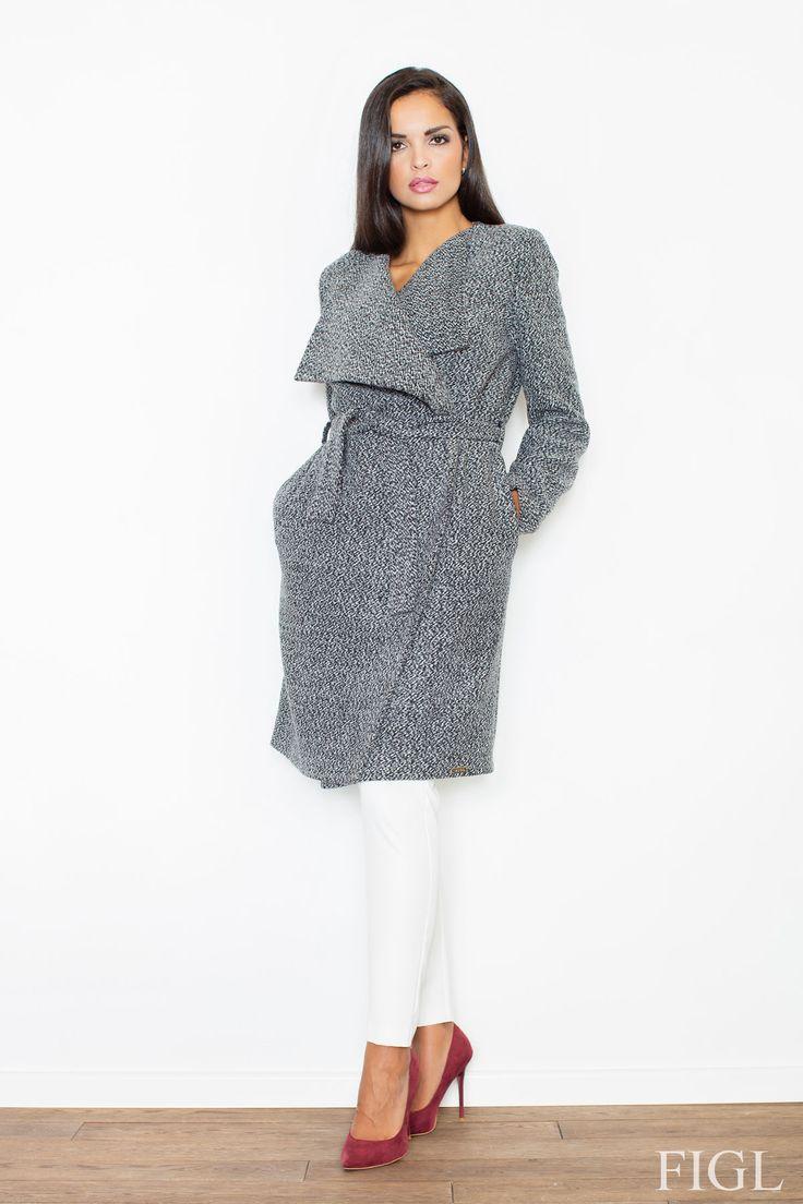 Szary zawiązywany płaszcz damski