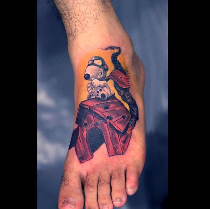 #snoopy #tattoo by Amy Shandick @preciselyveiledtattoo in Killeen TX Booking Inquiries: http://ift.tt/1c9rJbn #redbaron #preciselyveiledtattoo #tattooartist #tattoos #foottattoo #art #doghouse #tattoosofinstagram #tattoooftheday #supportgoodtattooers #tattoocloud #instagood #instadaily
