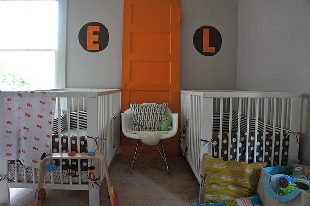 What a great decor idea - love this pop of orange in the #nursery!: The Doors, Twin Nurseries, Baby Rooms, Old Doors, Nurseries Idea, Shared Nurseries, Twin Boys Nurseries, Big Boys Rooms, Twin Rooms