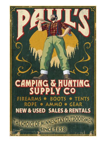 Minnesota - Paul Bunyan Camping Supply Prints
