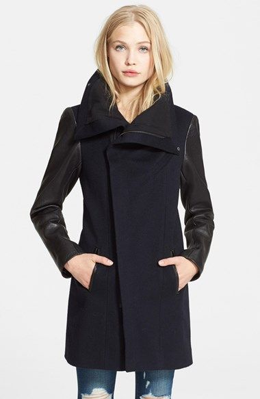 Free shipping and returns on Veda 'Gold' Leather Sleeve Wool Coat at Nordstrom.com. For a cold-weather style with a dash of urban edge, supple lambskin-leather sleeves frame a long straight-cut coat crafted from supersoft and delightfully warm wool. The funnel neckline can be zipped up to the chin to guard against wind, or worn open for a more dramatic moto look.