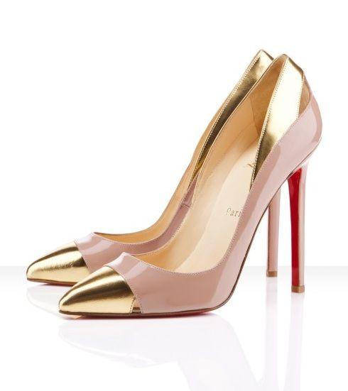Zapatos de moda de punta dorada de Louboutin