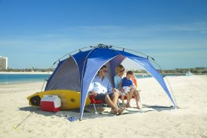 The Lightspeed Outdoors Quick Beach Canopy Tent is super simple to set up. It will comfortably fit outdoor folding chairs and holds up well to strong winds.