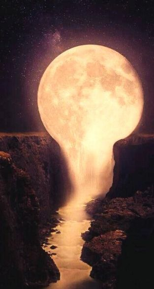 I like this photo because the moon looks like its also a waterfall.