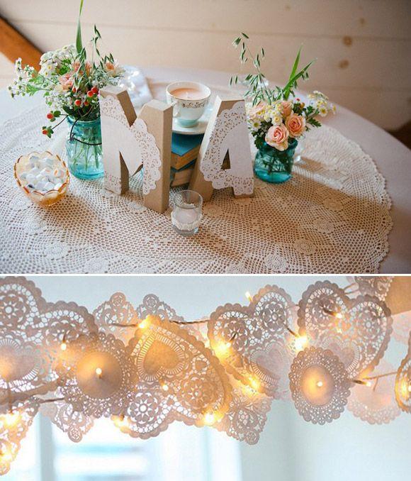 Decoración sencilla para bodas con blondas de papel