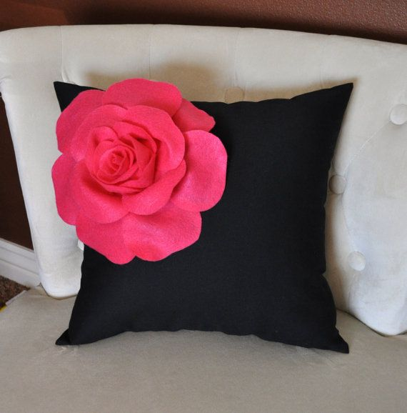 Hot Pink Corner Rose on Black Pillow 14 X 14 by bedbuggs on Etsy, $35.00