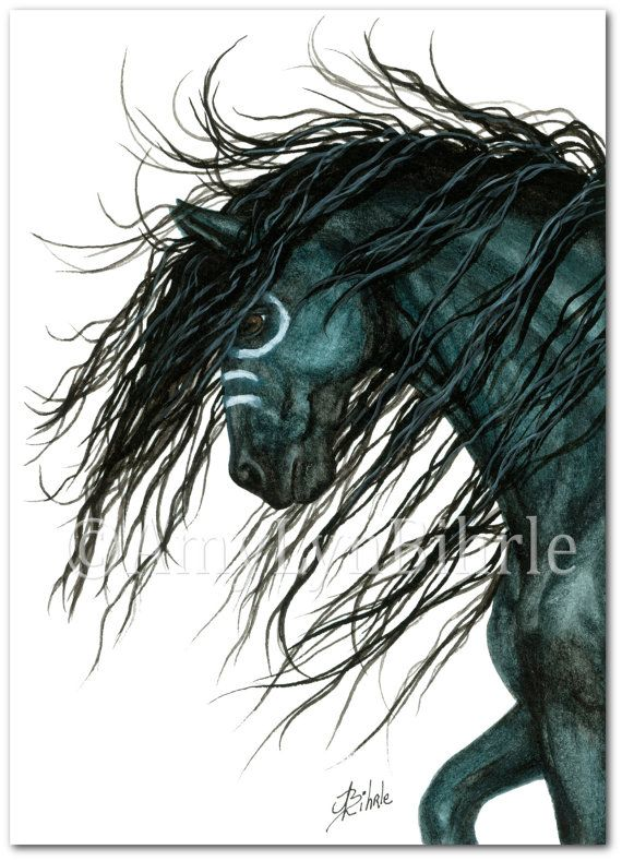 Majestic Horse - Black  Spirit War Paint - ArT Prints by Bihrle mm101
