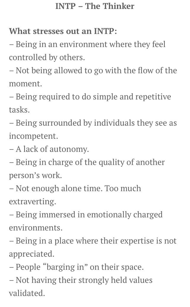 INTP Stressors | Being under the control of people I see as incompetent and don't appreciate my expertise... A most stressful combination.