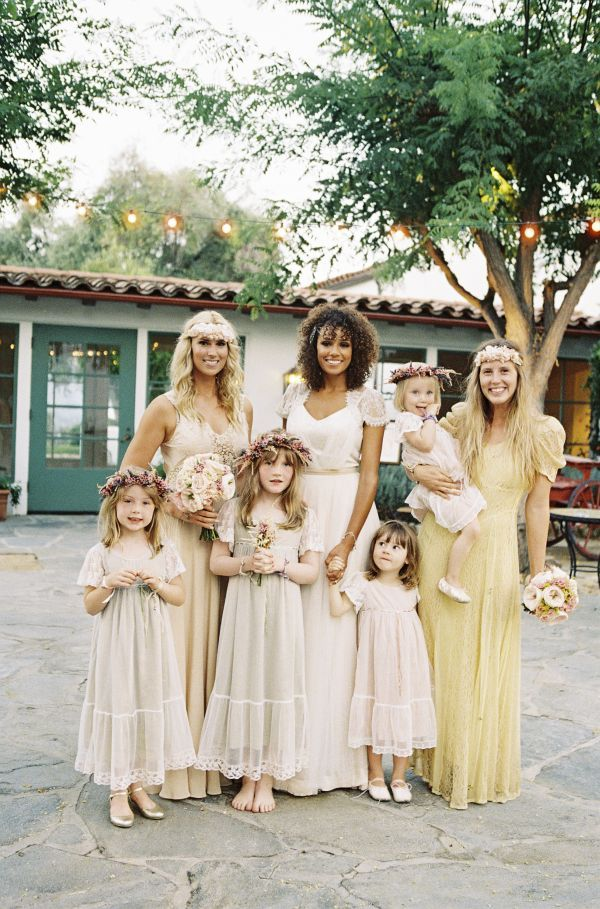 Boho style bridesmaid & flower girl dresses with wildflower crowns. I kinda really like this!!