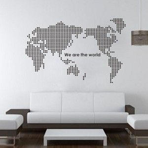 World Map Mural Made From Dots Wall Art Sticker