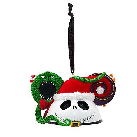 Jack Skellington Mickey Ears Christmas Ornament
