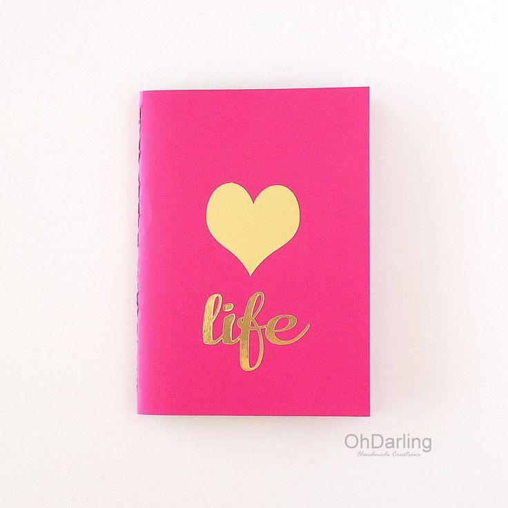 Notebook - Sketchbook - Love Life #goldfoil #handmadejournal #pinkgold #hotpink