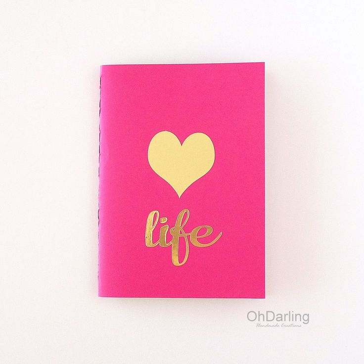 Notebook - Sketchbook - Love Life #goldfoil #handmadejournal #pinkgold #hotpink