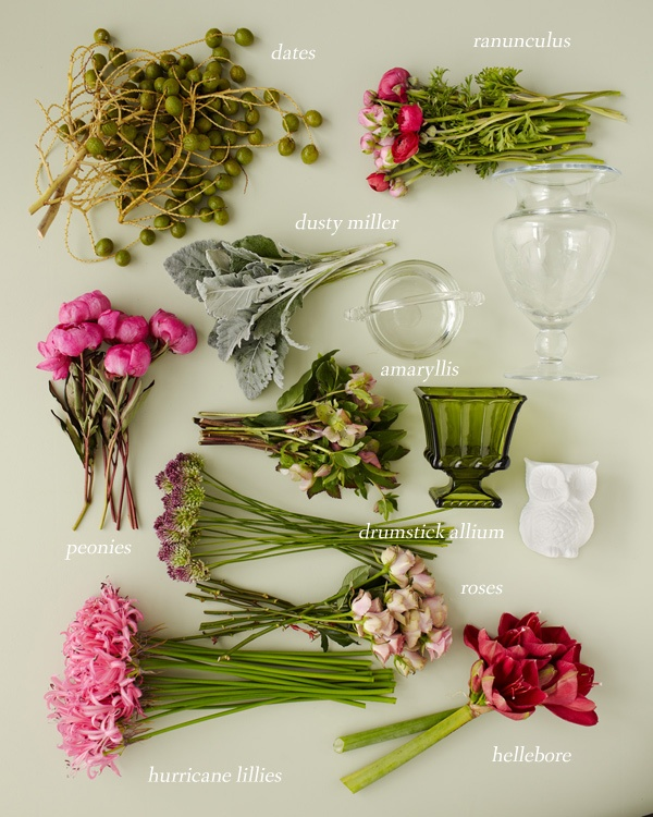 Dates, ranunculus, dusty miller, peonies, amaryllis, drumstick allium, roses, hurricane lillies, and hellebore