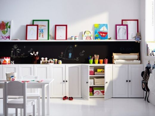 Take the cupboards in the laundry room and put them in the play room?