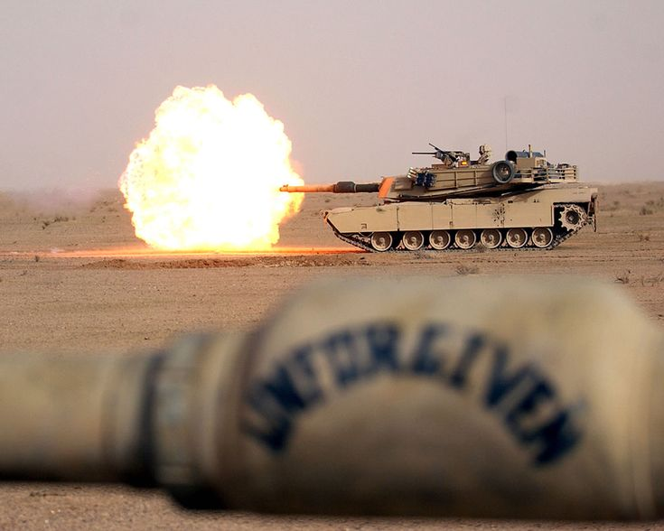 M1 Abrams Main Battle Tank. Watching the round destroy something down range is like watching the finger of God.