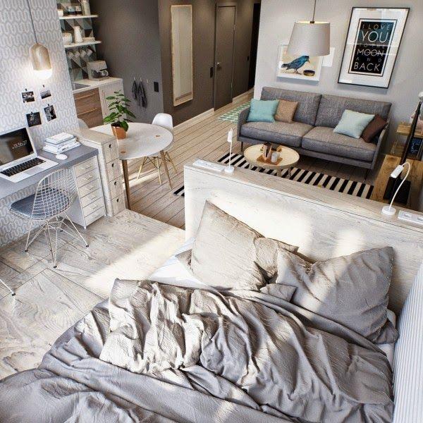 Apartamento pequeno com planta ousada e marcenaria esperta http://www.arquitrecos.com/2014/11/apartamento-pequeno-com-planta-ousada-e.html