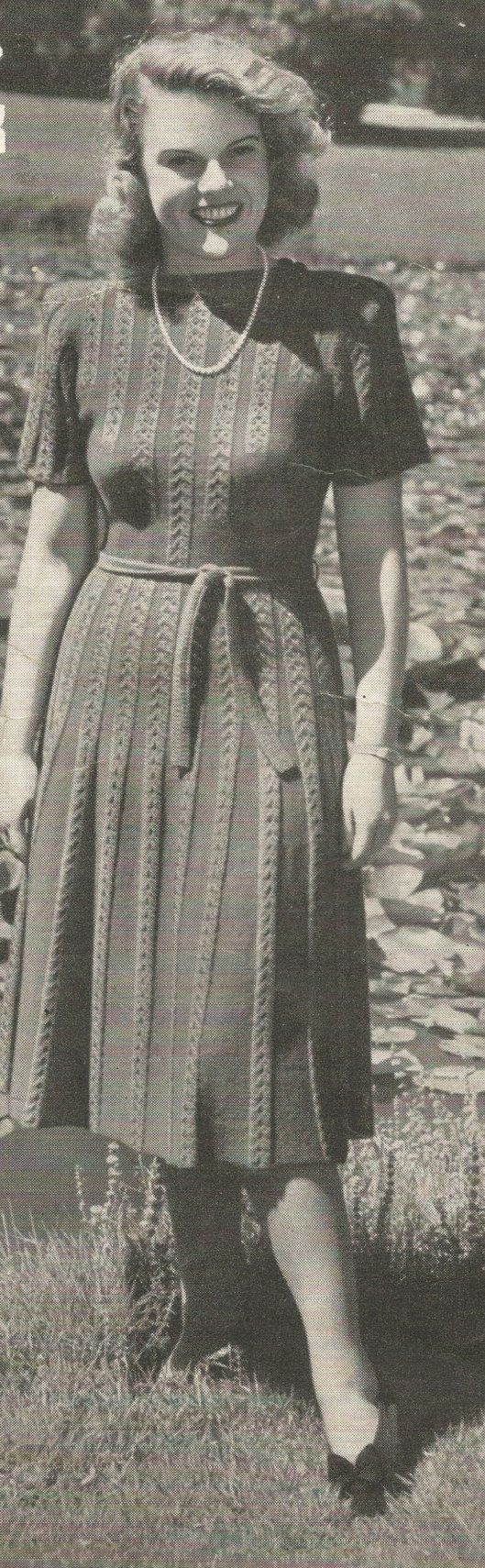 Ladies 1940s Knitted Dress with Tie Belt by NYNKnittingPatterns
