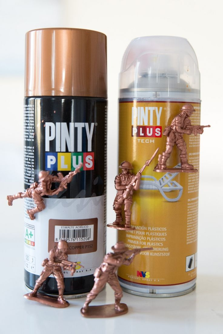 Upcycled copper plastic army men magnets made with Pinty Plus palstic primer and Pinty Plus tech in Copper
