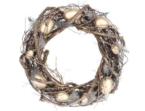 Gisela Graham Easter Twig Wreath WIth Gold Eggs