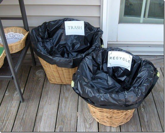Take the stress out of cleanup by having separate baskets for trash and recycling. | 31 Grad Party Ideas You'll Want To Steal Immediately