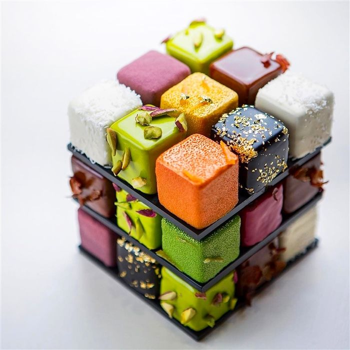 Rubik's cube cake by a Pastry Chef Cedrik Grolet.