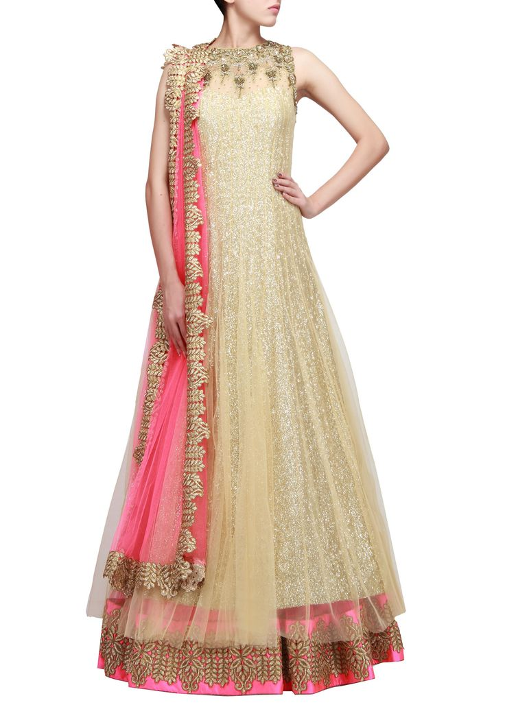 Beige anarkali lehenga with embroidered neckline only on Kalki