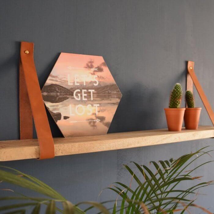 Cognac leren plankdragers met mango plank
