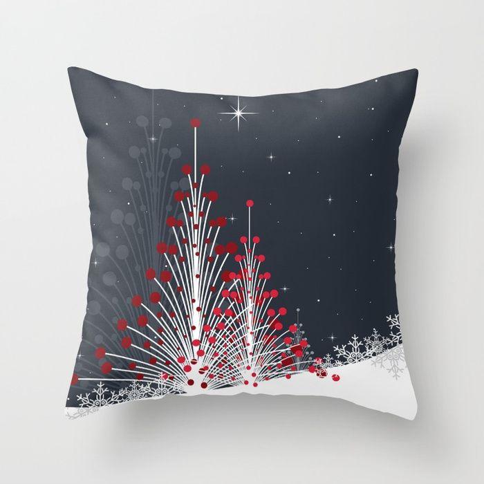 Christmas trees on the snow Throw Pillow