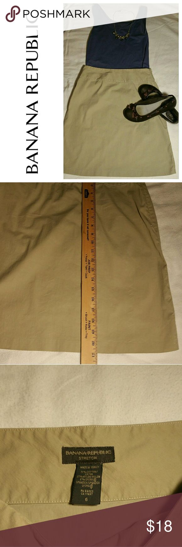 BANANA REPUBLIC KHAKI SKIRT ●BANANA REPUBLIC KHAKI SKIRT ●Size 6 ●Fabric is 71% cotton, 27% Nylon, 2% Lyra ● No known flaws, tears or stains ●Side hidden zipper ●Short slit on each side of skirt (see picture) ●Machine wash cold, Tumble dry ●This skirt has a crisp feel to it ●Pair he skirt with a tank and flats for a casual look ●Add a blazer and pumps to dress it up Banana Republic Skirts Midi