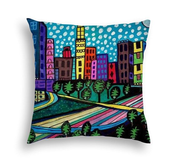 Los Angeles California Cityscape City Skyline Folk Art throw Pillow by Heather Galler - 5 Sizes to choose from
