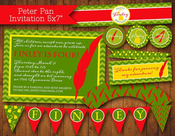 Peter Pan Party Pack PDF (Invitation, Cupcake Topper and Wrapper, Bottle and Food Label, Thank You, Treat Bags, Banner)