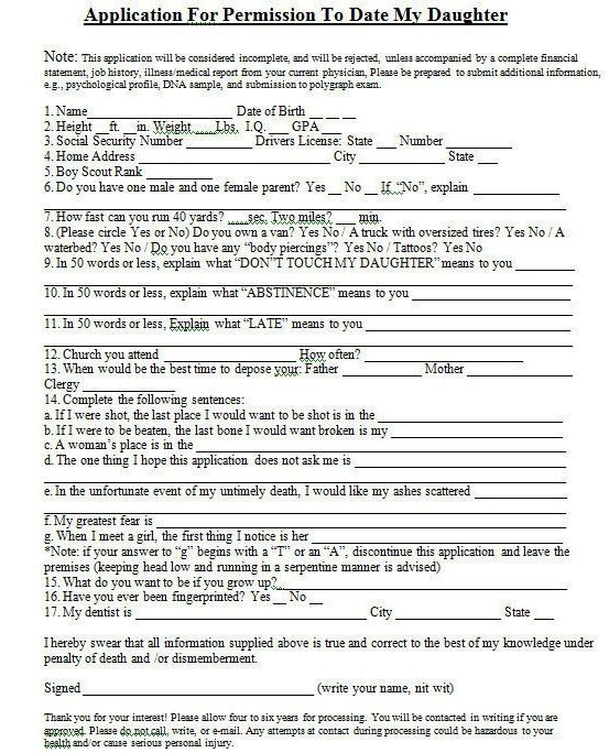 Application form for dating my daughter