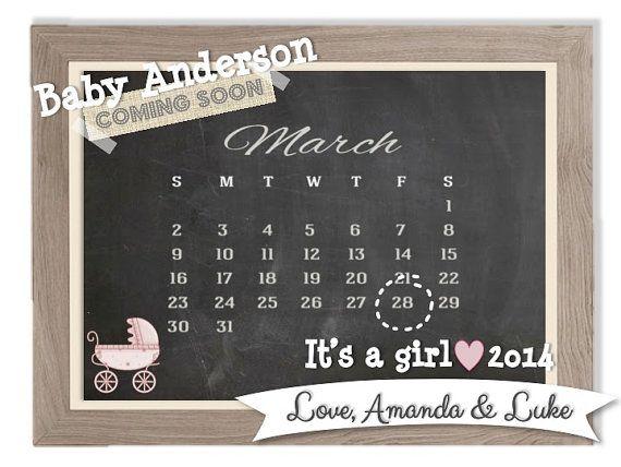 printable pregnancy announcement chalkboard announcement calendar announcement facebook. Black Bedroom Furniture Sets. Home Design Ideas