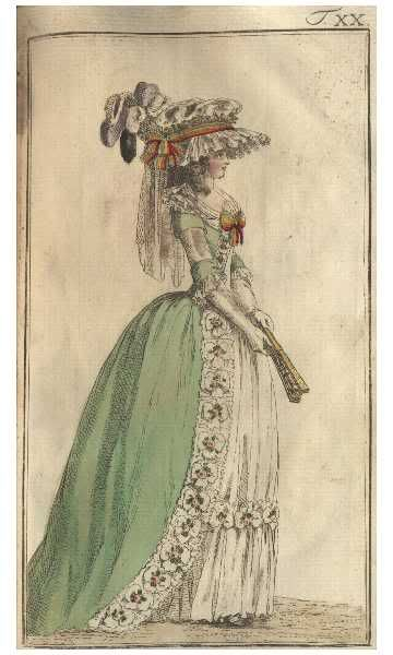 Journal des Luxus, 1786.  Love the green gown and the purple feathers!: Green Gowns, Journals Of, Of Luxury, Purple Feathers, Fashion Plates, Blue Jeans, 1700S, 18Th Century, 1780S Turqu